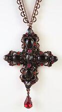 £65 Baroque Bronze Purple Red Cross Pendant Necklace Swarovski Elements Crystal