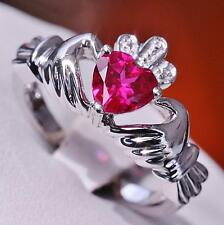 Vintage 10k white gold 0.75ct ruby heart size 6.5 claddagh ring  3.8gr
