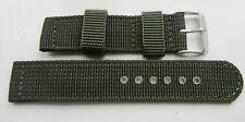 20mm Khaki Green Military Webbing Canvas Watch Strap Band Bracelet BNWOT