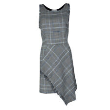 Phillip Lim 3.1 Gray Glen Plaid Check Sleeveless Fringe Trim Dress 0