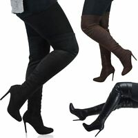 Womens Thigh High Heel Ladies Stretch Calf Over The Knee Boots