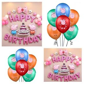 Peppa Pig Balloons Decoration Birthday Party Foil Balloons Girls Party Decor