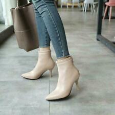 Women Kitten Heel Stretch Ankle Boots Pointy Toe Mid Heels OL Pumps Plus Sz 0403