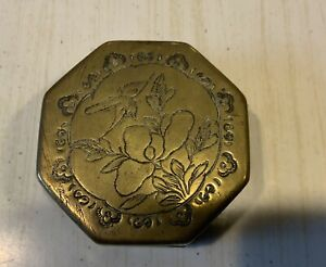 Beautiful Antique Chinese Engraved Brass & Copper Calligraphy Ink Paste Box