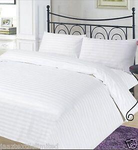 100% Egyptian Cotton 250 Thread Count Stripe Satin Duvet Cover Sets All Sizes