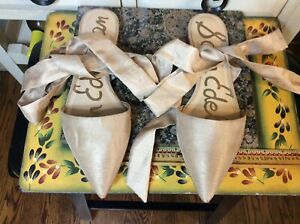 Sam Edelman Beige fabric Leg Ankle Wrap Flat  closed toe slip on Women's Sz 10