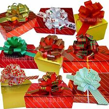 """Christmas Gift Pull Bows - 5"""" Wide, Set of 9, Red, Green, Gold, Stripes, Swirls"""