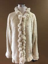New Womens Damselle New York Chateaux Brown Ivory Fur Cozy Ruffle Jacket XL