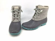 Sperry Saltwater Gray/Turquoise. Waterproof Rubber Boots Size 6.5M K782