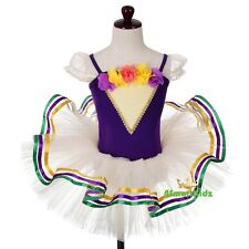 Rosette Ribbon Trimmed Embroidery Ballet Tutu Dancewear Fancy Dress Size 3-7 064