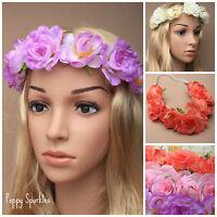 Boho Ladies Flower Festival Wedding Garland Forehead BrowBand Hair Headband