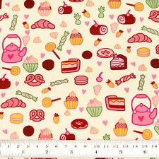 Cotton Fabric FQ Strawberry Cake Pretzel Croissant Donut Candy Kettle Heart VS30