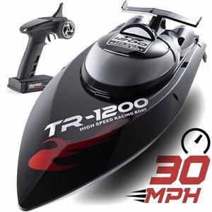 Top Race ® Remote Control RC Boat; Professional Series TR-1200; Black; 30 MPH