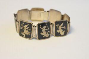 """Vintage Sterling Silver SIAM Large Bracelet 8"""""""