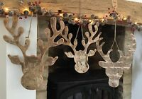 Rustic Stag Reindeer Head Silhouette Wood Birch Wall Christmas Decoration Hanger