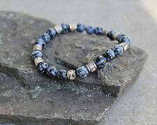 "Men's 8"" Snowflake Jasper Beaded Stretch Bracelet 8mm"