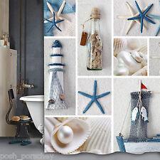 Calidad De Poliéster Blanco Azul Náutica con casa de luz 180 X 180 Cortina de ducha