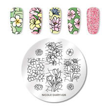 NICOLE DIARY Nail Stamping Plates Round Flower Series DIY Nail Art Tools ND-026