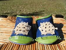 Goody Goody Infant Baby Boys 6-12M Leather Crib Shoes Blue Green Tan Pig NEW!
