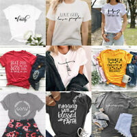 Faith Christian T-Shirts Jesus Tee Religious Tops Thankful Grace Shirts Present