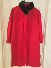 "Women's Wool Coat Red Long Faux Black Fur Jacket Winter. Used Once 38"" length"