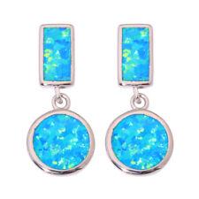 Jewelry Gemstone Drop Earrings 21mm Oh4261 Blue Fire Opal Silver Fashion Women