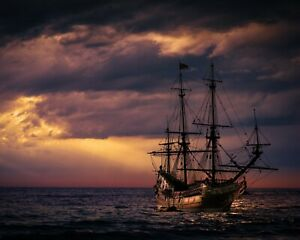 TALL SHIP AT SUNSET, illustration, 10 by 8 photo print, new