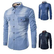 Fashion Western Men's Casual Long Sleeve Slim Fit Cowboy Denim Jean Shirt Tops