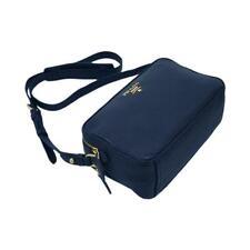 PRADA Women's Navy Blue Vitello Phenix Leather Crossbody Handbag 1bh079