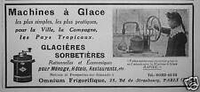 PUBLICITÉ MACHINES À GLACE GLACIÈRES SORBETIÈRES OMNIUM FRIGORIFIQUE