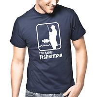The Happy Fisherman Angler Angeln Fischer Sprüche Geschenk Lustig Spaß T-Shirt