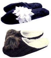 Next Slippers Black Fur / Purple Fleece Lined Mule Slip On - Soft Comfy Cosy New