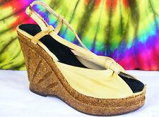 8-8.5 vintage 70's gold canvas slingback cork platform wedge sandals shoes NOS