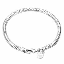 925 Sterling Silver Layered CLASSIC SNAKE BONE LINK CHARM BRACELET 3MM