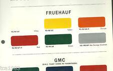 1966 FRUEHAUF / GMC TRUCK Color Chip Paint Sample Brochure / Chart: DuPont
