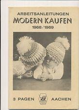 3 Pagen Modern Kaufen Arbeitsanleitungen 1968 / 1969 Anleitungsheft Baby Kinder