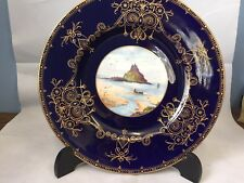 Stunning Royal Worcester Cobalt Blue Gold With Hand Painted J Walter L Plate #GA