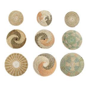 3Pcs Woven Wall Basket Decor Seagrass Wall Hanging Flat Baskets Decoration