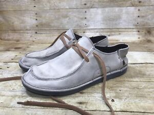 Men Ocean Minded Shoes Size 9 ROLLER Beige Suede Leather Lace Up Casual