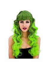 Long Black & Green Spellbound Witch Vampiress Wig Ladies Fancy Dress Halloween