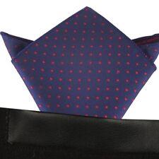 (T29) Azul con Lunares Rojos Hombres Pañuelo Bolsillo Cuadrado Pañuelo boda fiesta