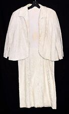 Vintage Mardi Gras New York Cream Floral Lace Dress & Matching Jacket Size Small