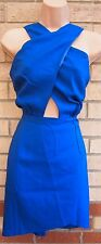 URMODA BLUE CROSSED FRONT V BACKLESS BODYCON TUBE PENCIL PARTY XMAS DRESS M L