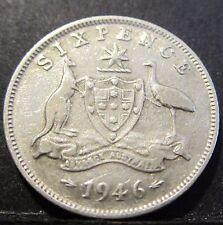 1946 Australia 6d Sixpence ** ERROR DIE CRACK ** #X646-3
