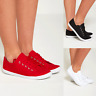 NEW WOMENS LADIES CASUAL BASIC TRAINERS CANVAS LACE UP SHOES FLAT GIRLS PUMPS