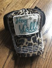 "Leopard And Black Distressed Turquoise ""Hey Yall "" Baseball Cap"