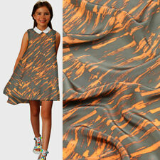 Geometric design Orange stripe design pure silk Crepe DE chine fabric,SCDC732