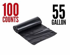 100Large 55Gal 1.4 Mil Strong Commercial Trash Bag Heavy Garbage Duty Yard Black