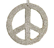 NEW Pottery Barn World Peace Sign Glitter Christmas Ornament Round Silver 7""