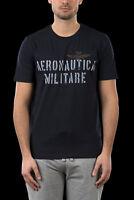 T-shirt Uomo Aeronautica Militare TS1473 Maglia Cotone Stampa Blu Grigio Nuova